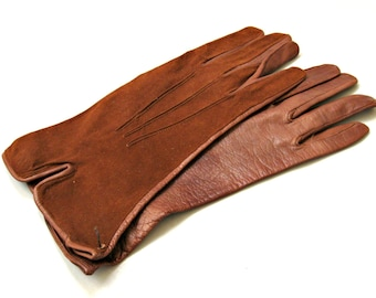 Vintage leather gloves. Ladies above the wrist chocolate / cocoa brown suede and leather, 60s. Small. Unworn, NOS, dead stock.
