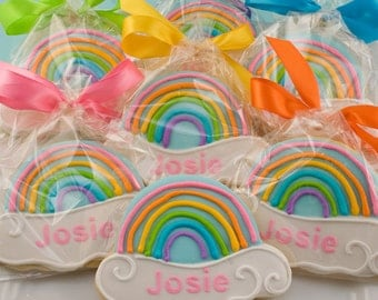 Rainbow Cookies - 12 Decorated Sugar Cookie Favors