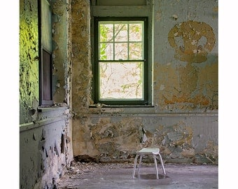 Urban Decay Photography, Window Photograph, Dark Architecture, Peeling Paint, Gray and Yellow, Abandoned, Dark Moody Forgotten Places, Urbex
