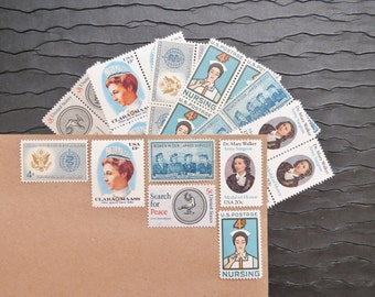 Medical Women .. UNused Vintage Postage Stamps  .. post 5 letters