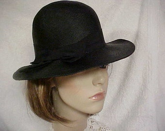 Very Light weight black fedora hat with side bow- fits 22 inches
