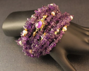 The Anna Karenina Amethyst, Freshwater Pearl, Bali Gold Vermeil Long Necklace / Bracelet with Amethyst Inlaid Vermeil Box Clasp