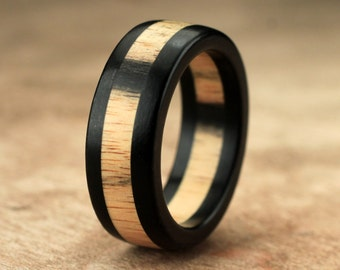 Pale Moon Ebony Wood Ring - 7mm