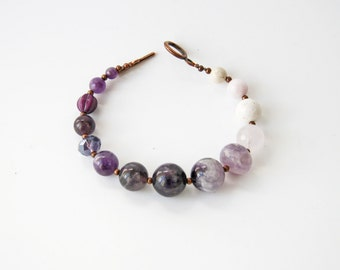 Purple Amethyst Beaded Bracelet Ombre Jewelry Purple Wedding