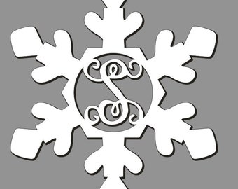 Unfinished Wood Snowflake Vine Monogram in 17.5 x 15 inch