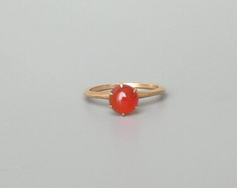 Victorian Style Carnelian Solitaire Ring. 14k Gold Prong Set.