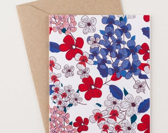 Red and Blue Floral Stationery