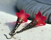 Pink Flower Dangle Earrings - Long, Trumpet, Bohemian, Fuchsia, Antique Copper, Boho Chic, Gift for Her, Lightweight, Drop