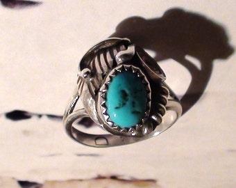 turquoise and sterling silver  Size 7 Vintage Art Indian Soutwest Mark D for D Denetdale Navajo Art