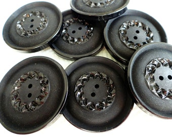 French Vintage Buttons in Jet Black