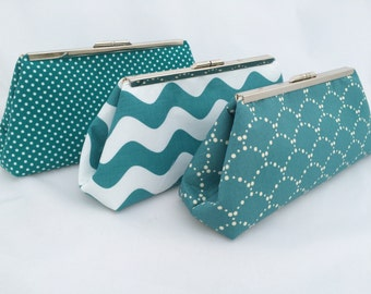 Teal Bridsesmaids Gift Clutch Custom Handbag Clutch- perfect gift for bridesmaids- design your own
