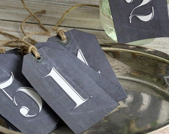 Wedding Table Number Tag set of 10 Chalkboard Look Numbered Tag Event Seating Hang Tag Engagement Party Anniversary Dinner Birthday
