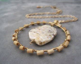 Circle Statement Necklace - Wire Wrapped Pendant - Winter White - Beige - Neutral - Stone Necklace - Large Pendant