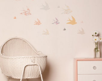 On Sale Fabric Wall Decal - Swallows (reusable) NO PVC