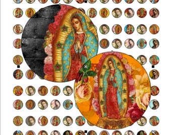 Virgen de Guadalupe 12x12mm for pendant, , earrings, scrapbook and more Vintage Digital Collage Sheet No.1370