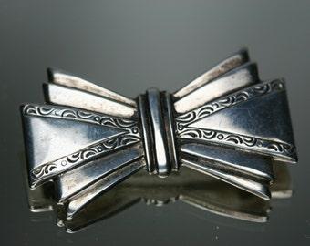 Vintage Sterling Bow Brooch