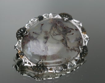 Vintage Sterling and Moss Agate Brooch