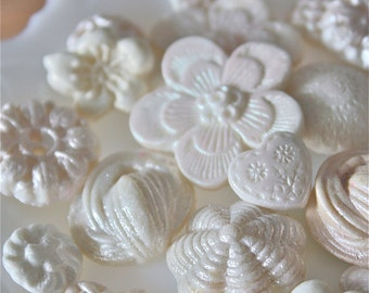 candy buttons and flowers-vintage marzipan buttons-weddding cake decorations-candy decorations