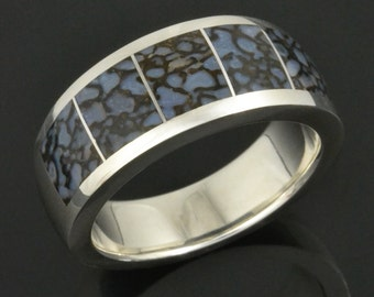 Blue Dinosaur Bone Ring In Sterling Silver