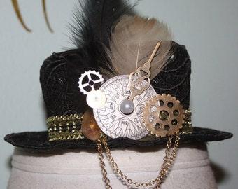 Black Beauty Steampunk Womens Lace Mini Top Hat