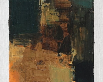 Sep. 13, 2014 - Original Abstract Oil Painting - 9x9 painting (9 x 9 cm - app. 4 x 4 inch) with 8 x 10 inch mat