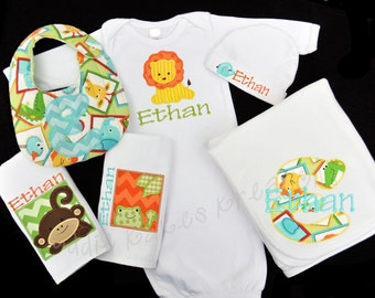 Personalized Safari Baby Gown Set - Safari Baby Outfit - Safari Take Home Outfit - Baby Shower Gift