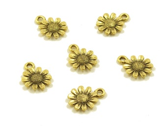 Silver or Gold Ox Pewter Sunflower Charms 12mm - 6
