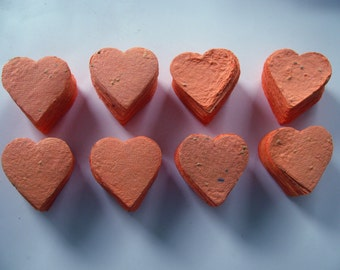 Coral heart shaped plantable flat cards