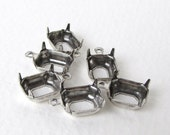 Prong Setting Antiqued Silver Ox Octagon Rhinestone Open Back 1 Ring Vintage Style 10x8mm set0215 (6)
