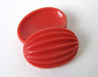 Vintage Cabochon Coral Glass Orange Grooved Melon Ovals 30x22mm gcb0968 (2)
