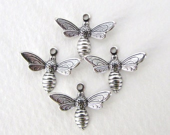 Bee Charm Antiqued Silver Ox Dapped Wing Flying 17mm chm0239 (6)