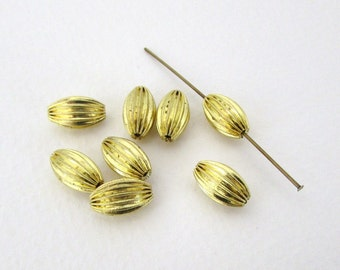 Vintage Metal Beads Brass Grooved Corrugated Oval 12x8mm vfd0246 (8)