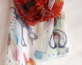 Silk chiffon scarf- Dressmakers tools. Hand painted scarf. Light, white and red scarf with sewing accessories. OOAK gift for mom KMS16