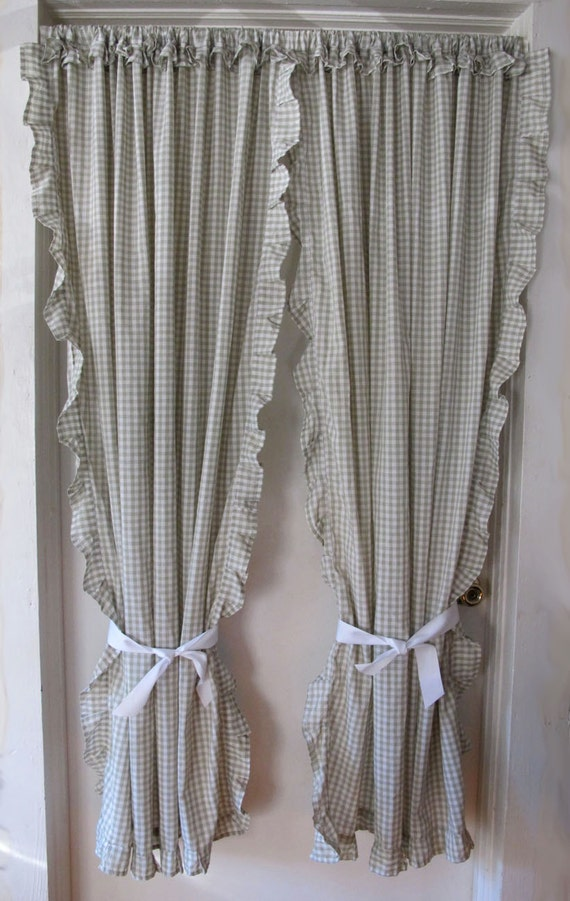 Green Check Cape Cod Curtains Ruffled Tie Back by BettyandBabs