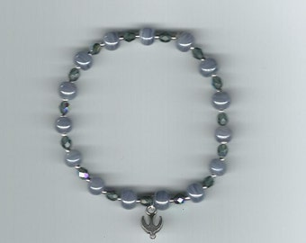 Confirmation Stretch Bracelet inSteel Blue w/Crystals and The Holy Spirit Charm