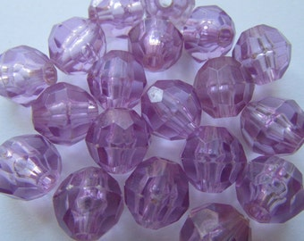 18 vintage beads - faceted light purple - 10 mm
