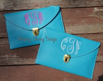 White, Aqua, Black,  or Pink Personalized Monogrammed Leather Clutch