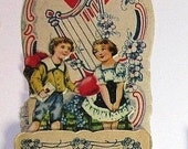 Antique Vintage Germany Die Cut 3-D Embossed Valentine Fold Out Stand up