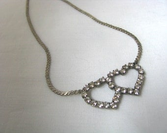 Silver tone vintage choker necklace with double heart rhinestones