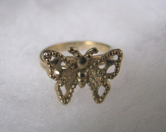 Gold tone vintage MADAME BUTTERFLY filigree ring Sarah Coventry