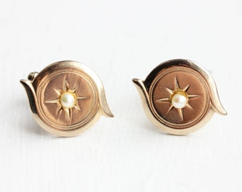 Round Pearl Cuff Links