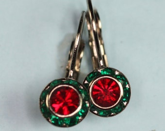 Red and Green Rhinestone Earrings Lever Back Vintage