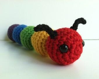 Amigurumi Crochet Caterpillar Plush Toy - Rainbow Kawaii Plush Caterpillar Gift Under 25 Nursery Decor Caterpillar Plushie