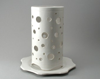 Ceramic Hurricane Candle Holder-Round-White-Luminary-Hand Built-Stoneware Slabs- White Glaze-Ready to Ship