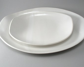 Oval Serving Platters-Set of 2-Slab Built-Classic White Glaze-Pottery Plate-Tableware-Tray-Handmade-Stoneware