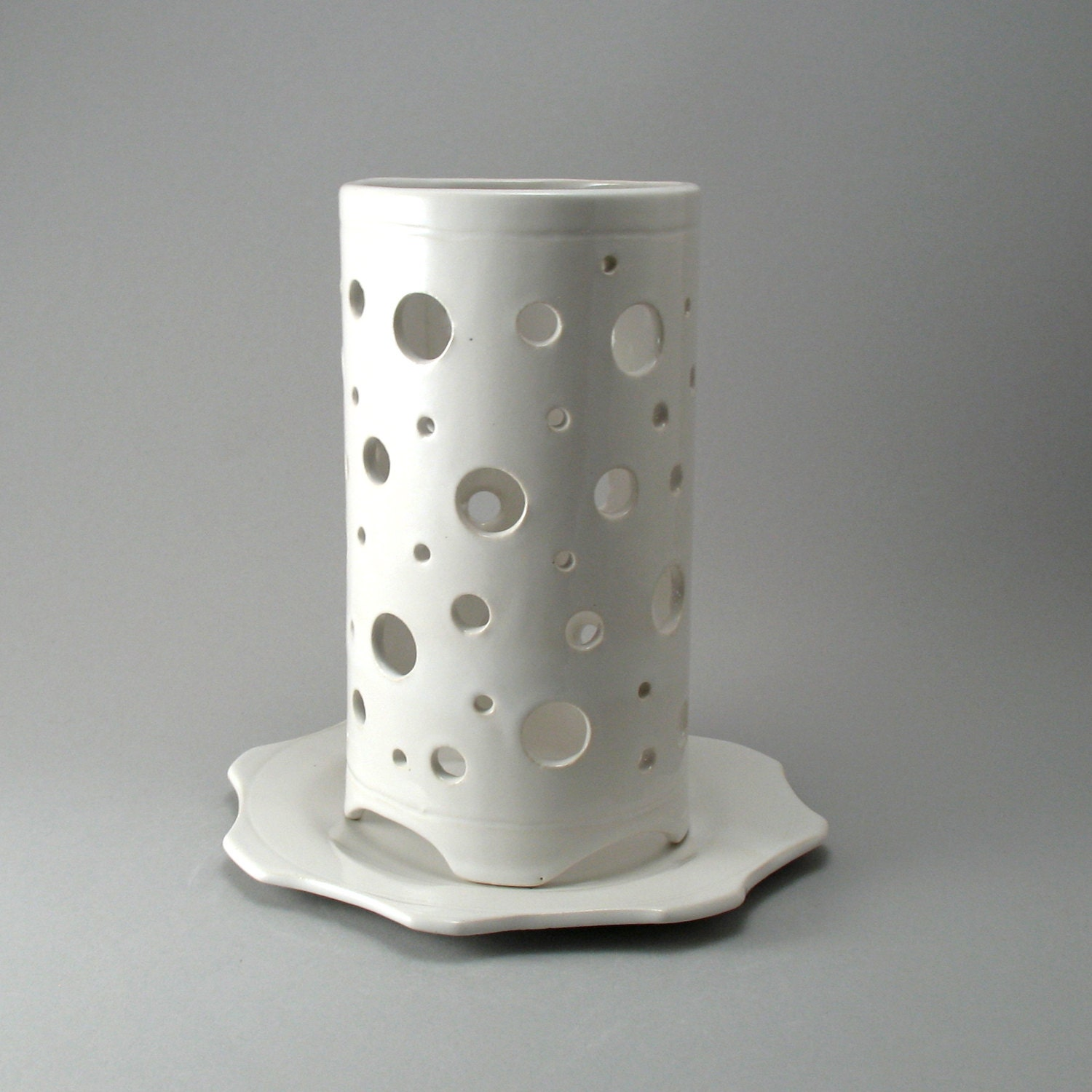 Ceramic Hurricane Candle Holder-Round-White-Luminary-Hand
