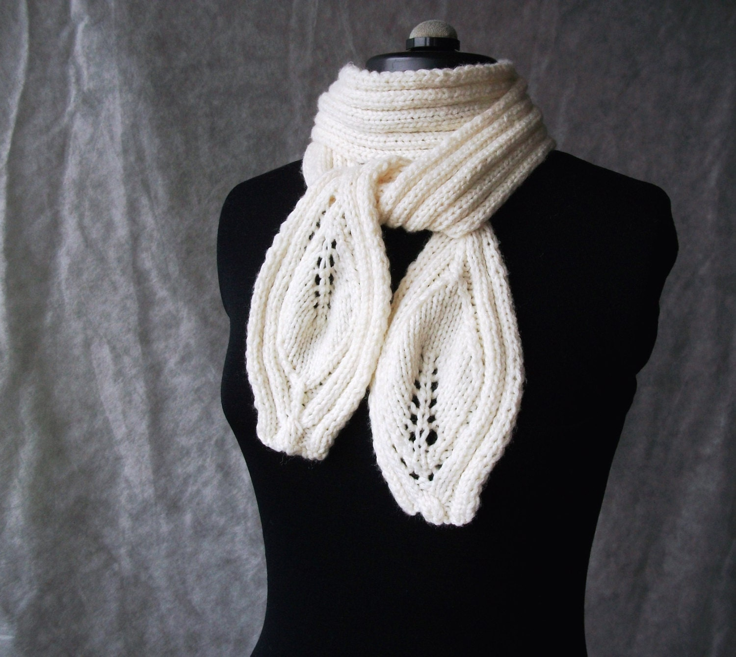 Hand knitted womens scarf-leaves pattern neck warmer-off white