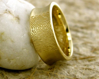 Double Finger Print Ring in 14K Yellow Gold with Matte Finish and Engraved Initials Size 9/7mm