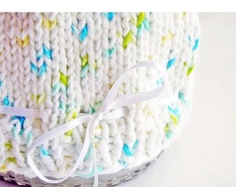 Photo Prop Baby Hat Hand Knit Cotton White Satin Ribbon Aqua Yellow Green Umbilical Knot