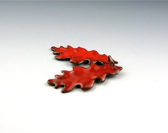 Enameled Small Oak Leaf  / Orient Red enamel/ Made to order